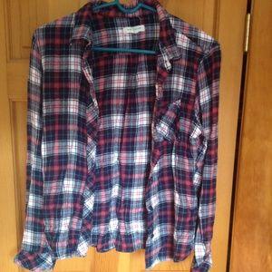 Super soft loose fitting plaid shirt